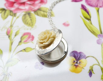 Ivory Rose Silver Locket Necklace