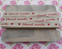 """Hand Made Tags Ribbon Natural/Red 5/8""""width 3 yds"""