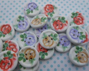 "Wooden Buttons Roses 24 pcs 3/4""width"