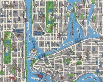 New York City cotton map fabric in Multi by Moda fabric 33010 18