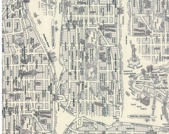 New York City map cotton fabric in black and white for Moda fabric 33010 20
