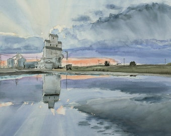 Mirror -  Silo reflected on water - 11 x 14 print