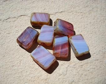 Pink and Blue Czech Glass Rectangle Bead