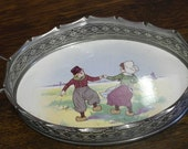 antique silver plate and china dutch kid sceen tray