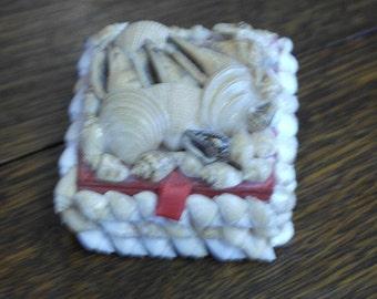 vintage shell decorated trinket pot