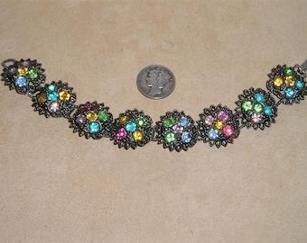 Vintage Rhinestone Link Bracelet 1940's Jewelry 148