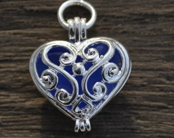 Cobalt Blue Sea Glass Heart Locket Charm Necklace