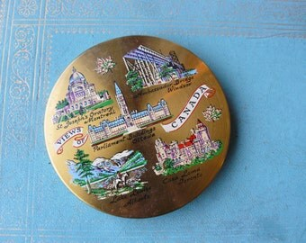 """Vintage Canada Souvenir Compact, Powder Compact with a Mirror, Never Used, Gold Metal, Mid Century, """"Views of Canada"""""""
