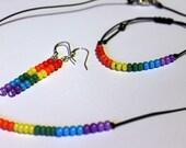 LGBT Gay Lesbian Pride Jewelry Set Minimalist Necklace Bracelet Earrings Rainbow Beaded