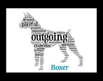 Boxer, Boxer art, Custom, Personalize, Pet Gift, Print, Dog Art, Pet Art, Pet Love