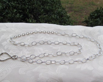 Sterling Silver Chain ID Badge Lanyard Medium Fancy Double Oval Chain Links