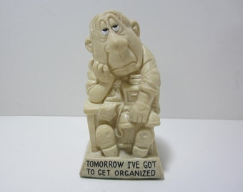"""Wallace Berrie Figurine - Man at His Desk in His Office - """"Tomorrow I've Got to Get Organized"""" Made in U.S.A. 1974"""