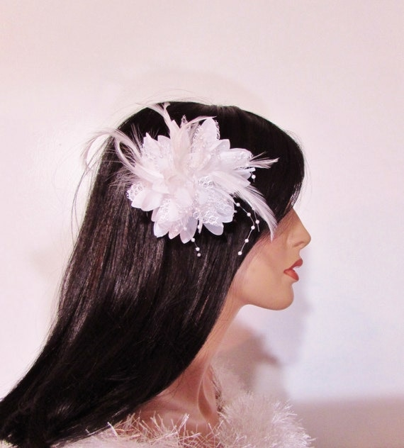 White Feather Flower Hair Clip Bridal