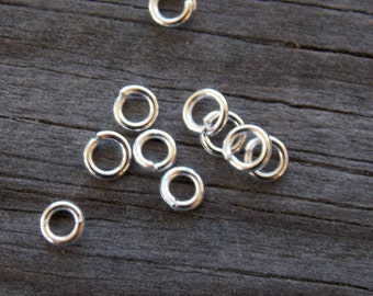 250 Silver Plated Jump Rings Round Open 4mm 21 Gauge