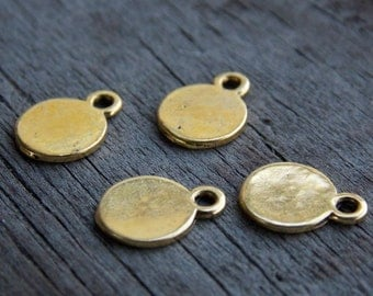 20 Round Antiqued Gold Charms Stamping Blanks 11mm