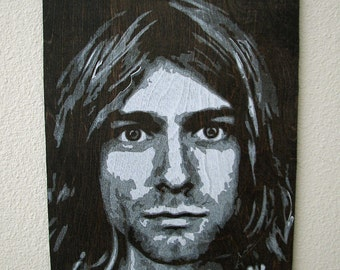 Kurt Cobain Multilayer Graffiti Stencil Art on Stained Wood Panel