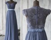 2015 Steel Blue Bridesmaid dress , Cap Sleeve Lace Wedding dress, Backless Party dress, Formal dress, Elegant dress floor length (F120B)