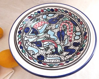 Tunisian Bowl Pottery Hand Painted Fish Crawfish