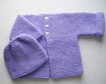 Lavender Cardigan and Hat