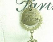 Bike Necklace, Never Give Up - Custom Listing for KARA