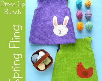 Spring Fling - reversible doll dress pattern with basket and eggs