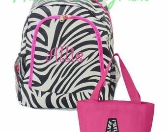 Personalized Zebra Backpack and Lunch Tote Set Zebra Print with Hot Pink Trim Full Size Bookbag & Lunch Tote Monogrammed FREE
