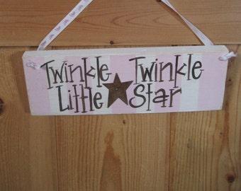 Twinkle twinkle little star, nursery sign, baby girl, pink
