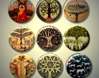 """TREE OF LIFE Multi Cultural Celtic Egyptian Christian Norse Native 9 Pinback 1"""" Buttons Badges Pins"""