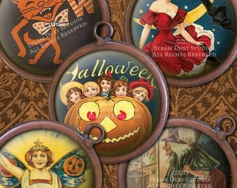 Victorian Halloween - Witches, Jack-O-Lanterns, Cats and more - 1-Inch Circles - Digital Collage Sheet, Instant Download, Jewelry Printables