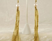 Long Antique French Coil Fringe and White Pearl Earrings 1112