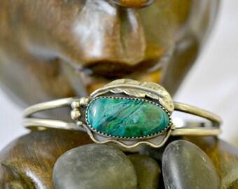 Sterling silver chrysocolla cuff bracelet.  Southwest style.