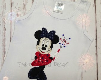 Minnie Mouse 4th of July - Appliqued and Personalized - Applique will be filled in with Fabric