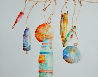 Lobster Sea Floats x 7 Original Watercolor Painting by artist Tamyra Crossley.