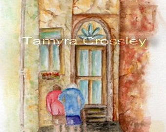 Old Friends Original Watercolor by Tamyra Crossley.  5 x 6.5