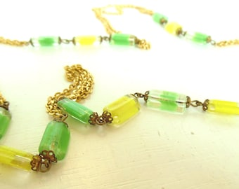 "Vintage Glass Beaded Yellow Green Gold Necklace Chain 60's 52"" (item 178)"