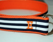 Navy and Orange Belt Mens Orange Belt Ladies Striped Belt Orange and Navy Belt Navy D Ring Belt Monogram Belt Striped Monogram Belt