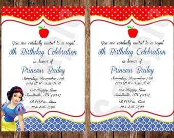 Princess Snow White Elegant Birthday Invitation (with or without Princess) (SW01)