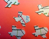 12 STATE of TEXAS   1.4 inch die cut white with map design  hand punched, paper punch, confetti, craft projects, gift tags