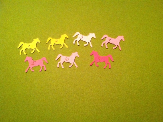 Reserved for Dannell 200 Hand Punched  HORSE Die cuts LIME GREEN for Confetti, Birthday party decorations,Invitations,scrapbooking,