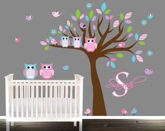 nursery wall decal, Wall Decal, Owl Nursery Decal, girl owl wall decals, boy Owl nursery wall decal