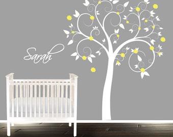 Yellow swirly nursery tree, pastel tree decal, personalized wall sticker, nursery wall decal tree for boys or girls