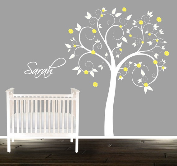 arbre de p pini re swirly jaune autocollant pastel arbre. Black Bedroom Furniture Sets. Home Design Ideas