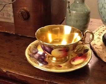 Antique Aynsley Teacup and Saucer Made in England Gold Orchard Fruit