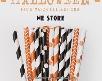 25 PAPER STRAW with free printable DIY Toppers - Happy Halloween