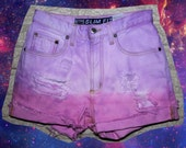 SIZE 26 // High Waisted, Pink and Light Purple Ombre Pastel, Distressed Denim Cutoff Shorts