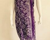 Silk Batik Sarong - Dark Purple Traditional Flowers