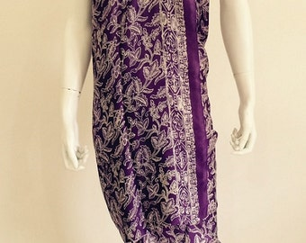 Silk Batik Sarong - Dark Purple Traditional Flowers