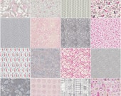 """36 Liberty print pink and grey charm squares, 5"""" patchwork squares"""