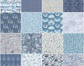 """36 Liberty print blue charm squares, 5"""" patchwork squares in navy, sky and royal blue"""