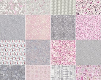 "36 Liberty print pink and grey charm pack, 5"" patchwork squares"